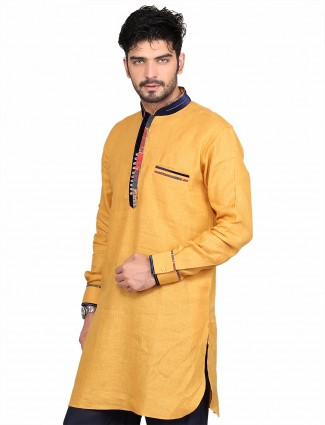G3 Exclusive yellow cotton solid party wear Short Pathani