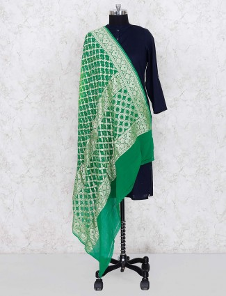 Gajji silk fabric green hue pretty dupatta
