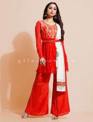 Georget punjabi palazzo suit in red