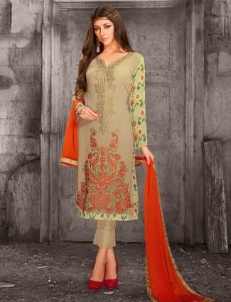 Georgette beige festive wear salwar suit