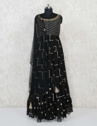 Georgette black floor length anarkali suit