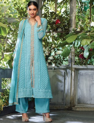 Georgette blue salwar suit