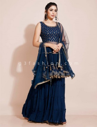 Georgette blue sharara suit design for party