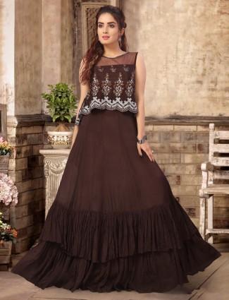 Georgette brown floor length anarkali salwar suit