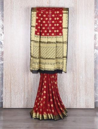 Georgette classy maroon saree