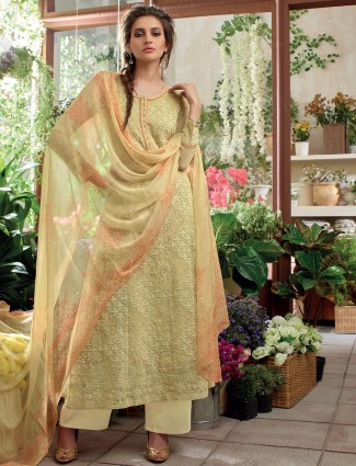 Georgette cream festive salwar suit