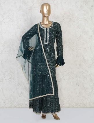 Georgette designer bottle green punjabi sharara suit