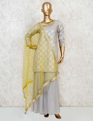 Georgette designer grey kurti and sharara with mirror work