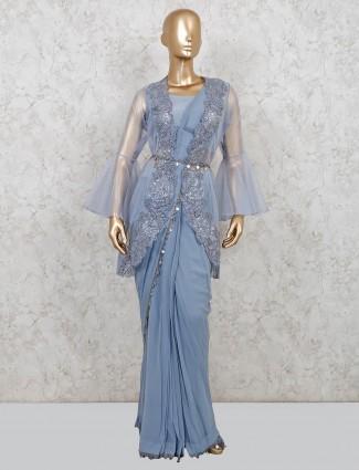 Georgette designer light blue readymade saree