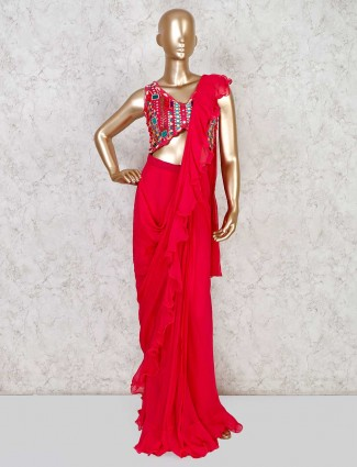 Georgette designer magenta ready to wear saree for party