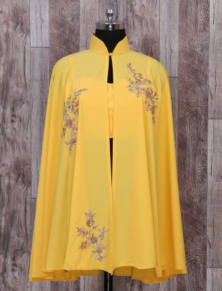 Georgette designer suit in yellow color