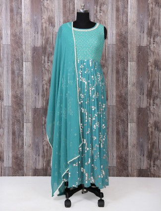 Georgette fabric aqua color palazzo suit