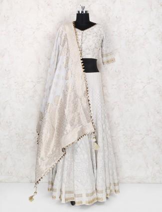 Georgette fabric grey color lehenga choli