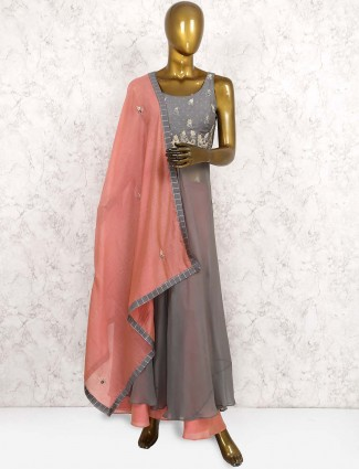 Georgette fabric punjabi palazzo suit suit in grey hue