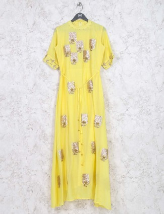 Georgette fabric yellow hue festive kurti