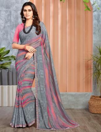Georgette festive wear grey stripe saree