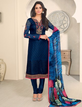 Georgette festive wear navy salwar suit