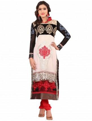 Georgette festive wear white semi stitched salwar suit