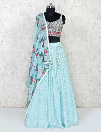 Georgette floral lehenga in sky blue