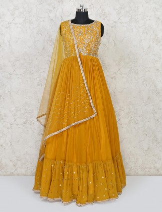 Georgette gold wedding function gown
