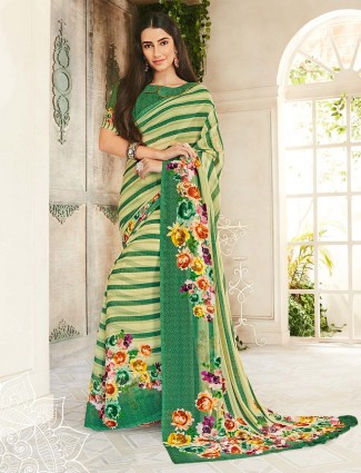 Georgette green festive function saree