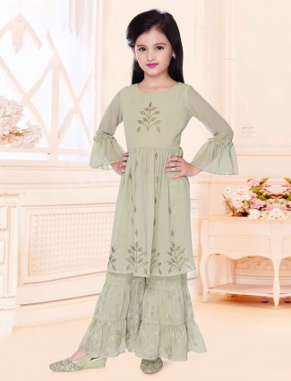 Georgette green festive sharara suit