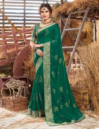 Georgette green sari in festive