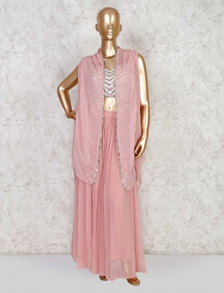 Georgette Indowestern Salwar Suit With Jacket In Dusty Pink