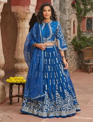 Georgette lehenga choli design in royal blue