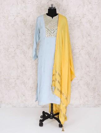 Georgette light blue color punjabi palazzo suit