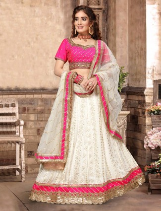 Georgette magenta and off white designer lehenga choli