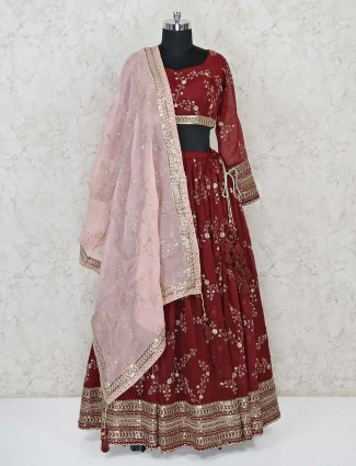 Georgette maroon lehenga choli for festive