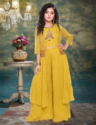 Georgette mustard yellow jacket style sharara suit