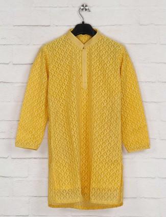 Georgette mustard yellow kurta suit