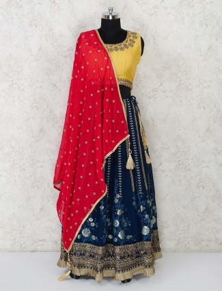 Georgette navy blue and yellow lehenga choli for festival