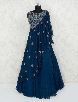 Georgette navy designer gown