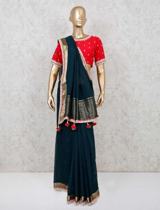 Georgette navy matching readymade blouse saree
