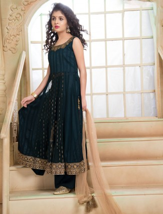 Georgette navy party punjabi palazzo suit