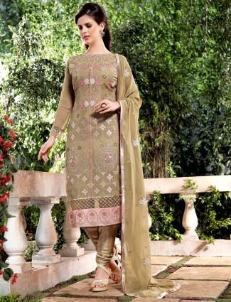 Georgette olive festive wear dress material