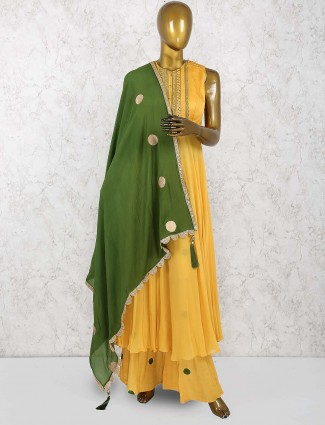 Georgette palazzo suit in yellow color
