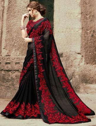 Georgette party wear black saree