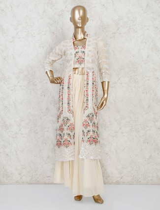 Georgette party wear cream indo western suit