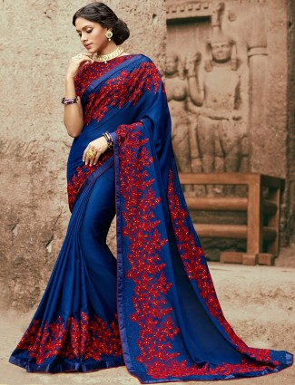 Georgette party wear saree in blue color