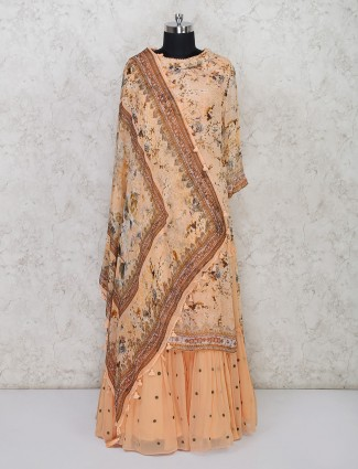 Georgette peach colored printed sharara suit