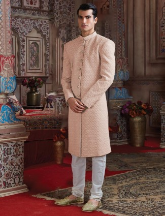 Georgette peach lakhnavi thread sherwani