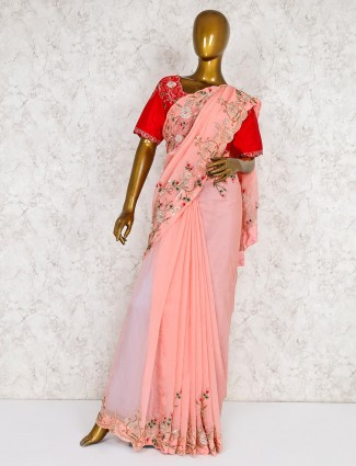 Georgette peach lovely saree with contrast ready made blouse