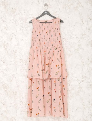 Georgette peach printed kurti for festive