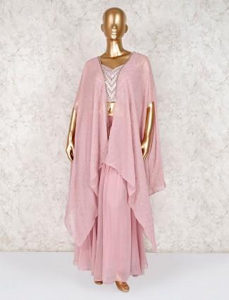 Georgette pink designer indo western palazzo suit