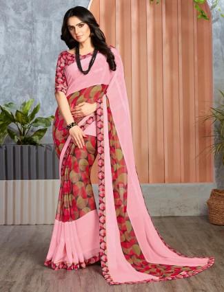 Georgette pink printed design festive saree