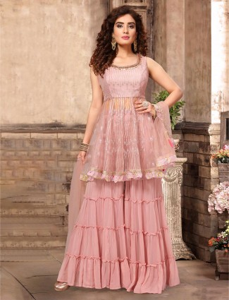 Georgette pink punjabi sharara suit in party wear